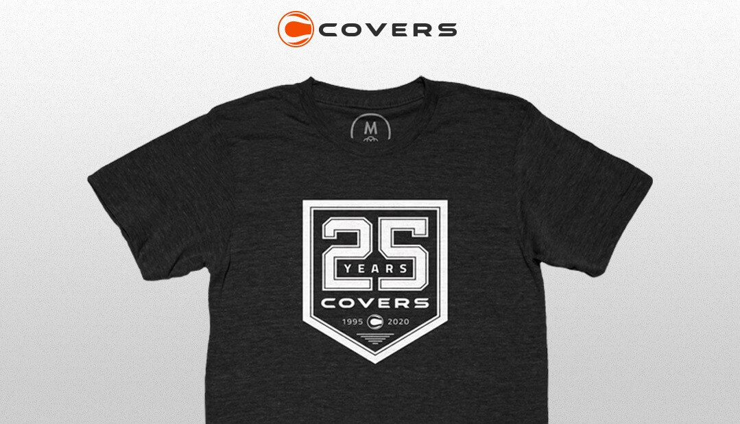 Covers 25th anniversary t-shirt available at Cotten Bureau