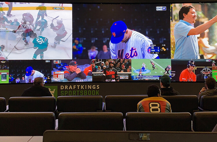 The video wall at DraftKings Sportsbook at Resorts, one of the best sportsbooks in Atlantic City, New Jersey.