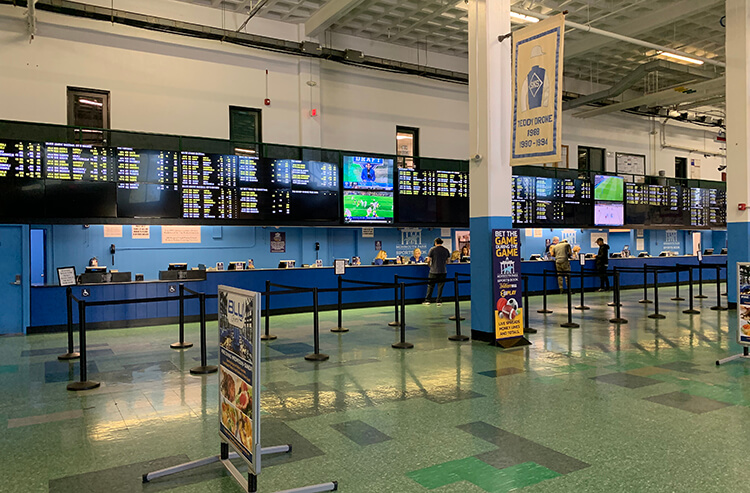 A betting counter at Monmouth Park Sports Book by William Hill in New Jersey
