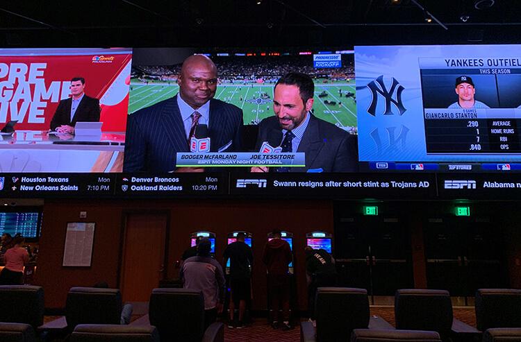 The video wall at the Parx Casino Sportsbook in Philadelphia, Pennsylvania