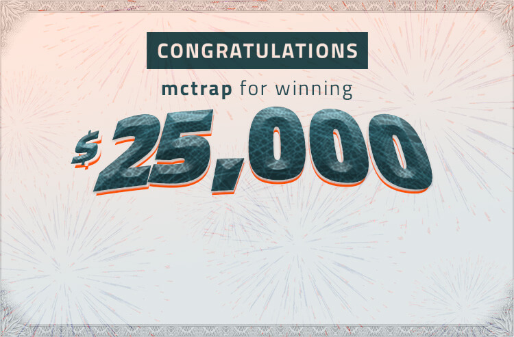 Congratulations to mctrap on his $25,000 win in the Covers Streak Survivor betting contest!