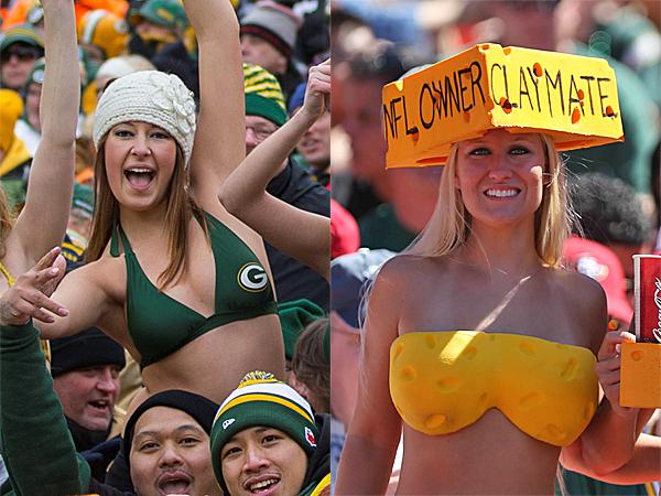 Green bay packer fans in bikini the