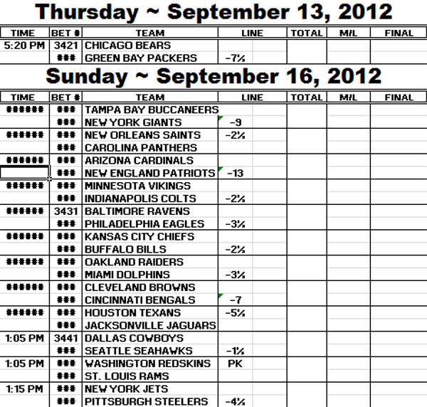nfl spreads week 7 2012