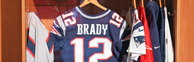 Tom Brady's Patriots jersey hangs in his locker